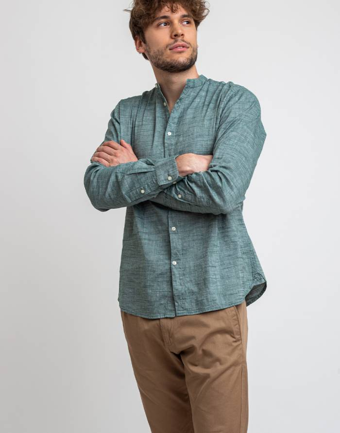 Einfarbig Knowledge Cotton Larch Long Sleeve Linen Stand Collar Shirt
